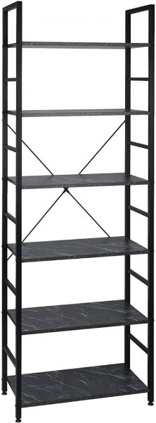 Standregal Metallregal 6-Ablagen Holz 60x28x180cm, schwarzer Marmor