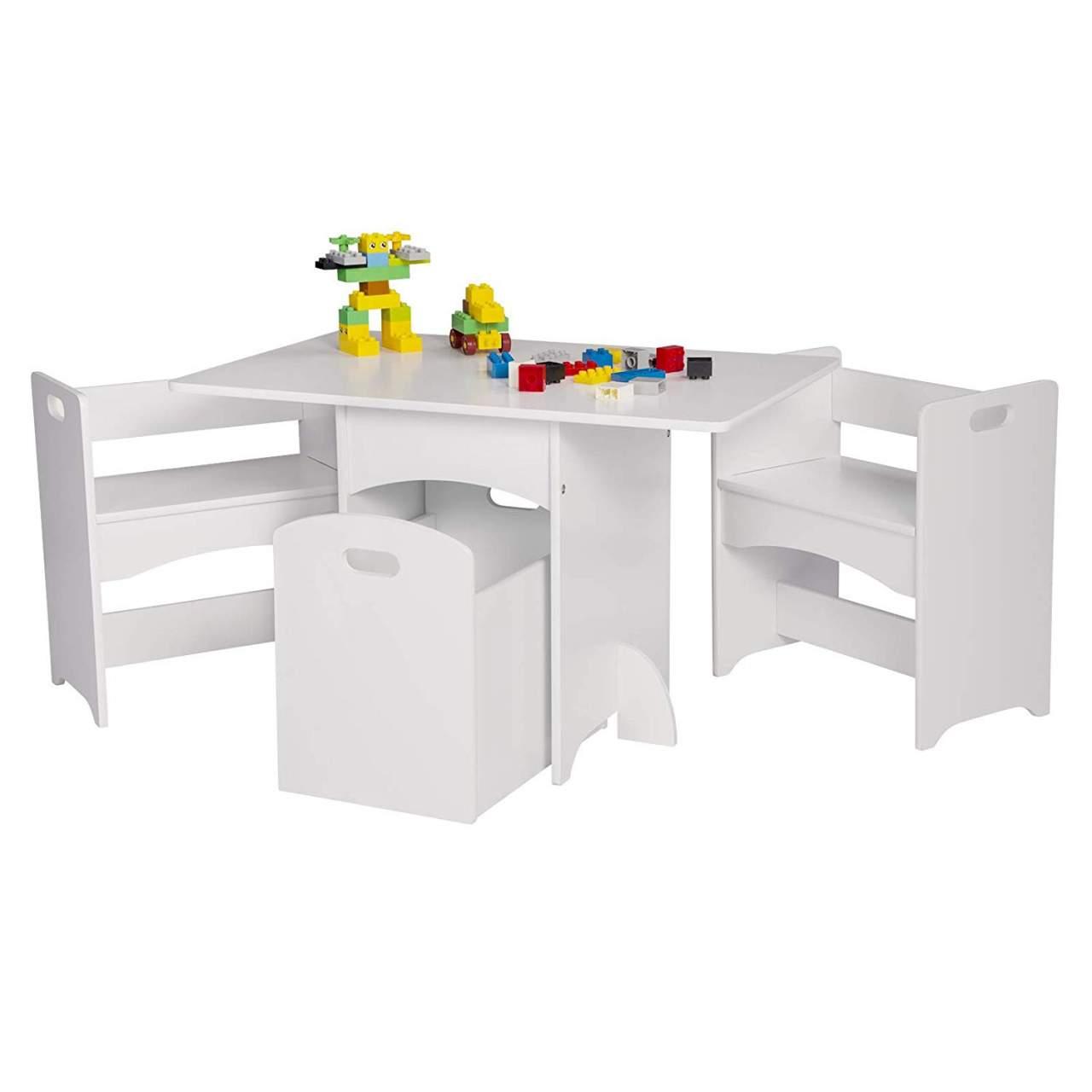 3 in1 Kindersitzgruppe Kindertisch mit 2 Sitzbank für Kinder