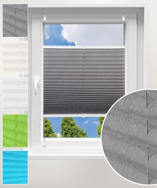 Pleated Blinds Polyester No Drilling Easy Fix Pleated Shades Instant Temporary Privacy Blinds for Window Crushed Look Grey