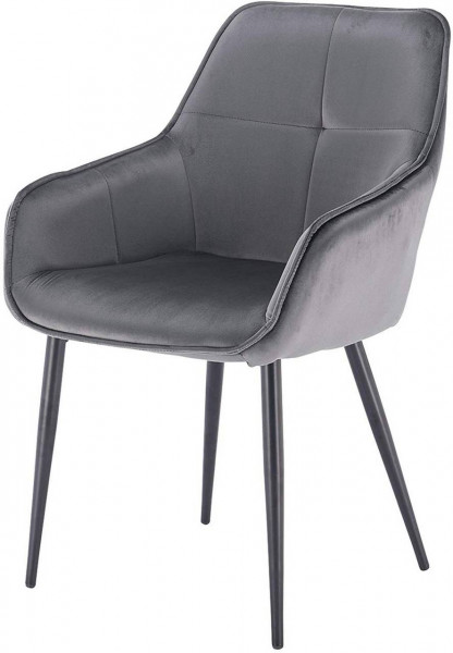 Küchenstuhl aus Samt & Metall Modell Ann, dunkelgrau
