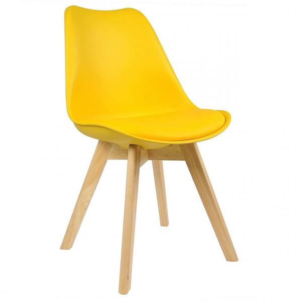 Esszimmerstühle 2er-Set Leinenbezug Holzbeine Lisa gelb