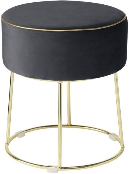 Sitzhocker aus Samt goldene Metalbeine & Rand runde Form