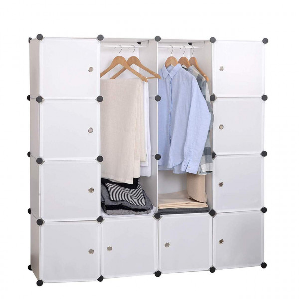 Wardrobe with 2 clothes rails