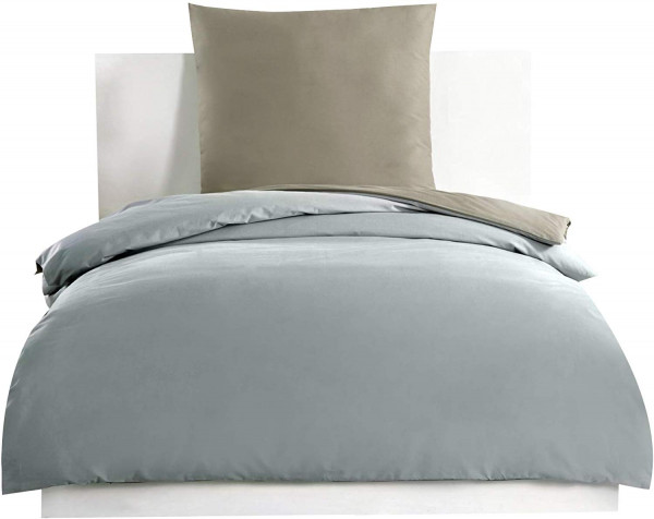 Bedding Duvet Cover Set dark Taupe-Grey Cotton for Single Size Bed