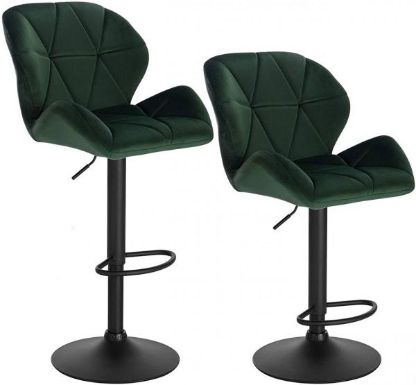 Set of 2 velvet bar stools with backrest - model Kaya