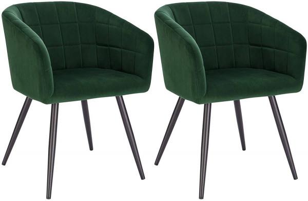 2er-Set Esszimmerstühle aus Samt & Metall - Modell Annika