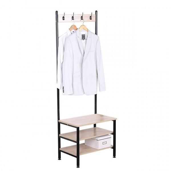 Kleiderständer mit Sitzfläche, mit 4 Haken, aus Holz und Stahl