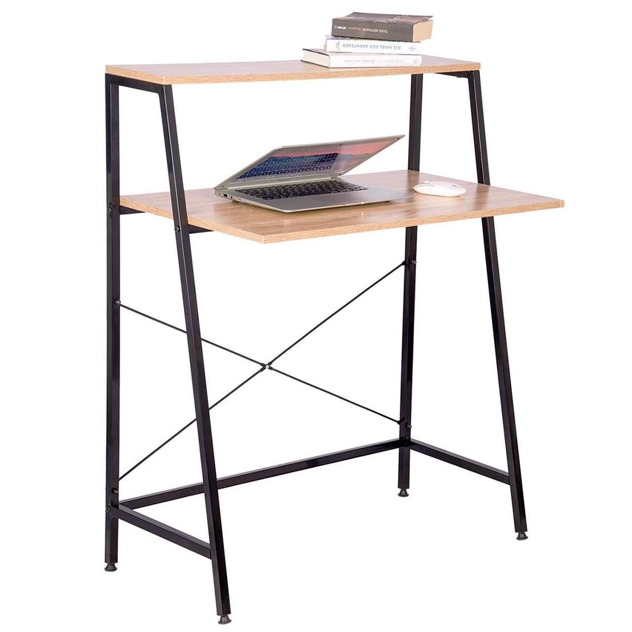 - PC Table With Shelf In Light Oak Woltu.eu