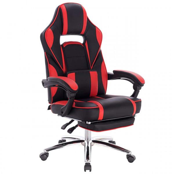 Gaming Stuhl Racing Stuhl mit Ledenkissen, mit Fußstütze, Kunstleder