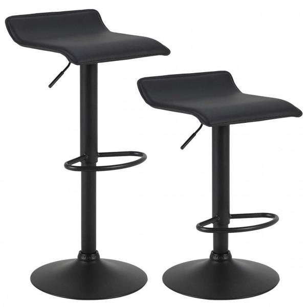 2er Set Barstuhl aus Kunstleder und Stahl