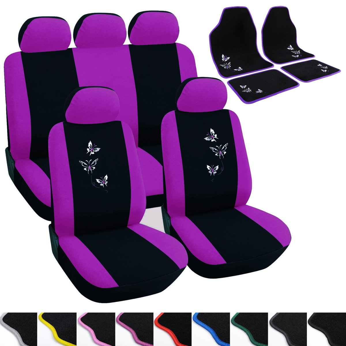 WOLTU Car Seat Covers black and purple Full Set 5 Seaters Universial for Cars