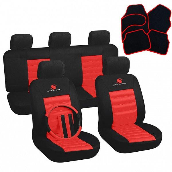 Auto Sitzbezüge + Fußmatten Schwarz/Rot