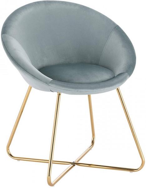 Küchenstuhl aus Samt & Metallbeine - Modell Hanna, hellblau