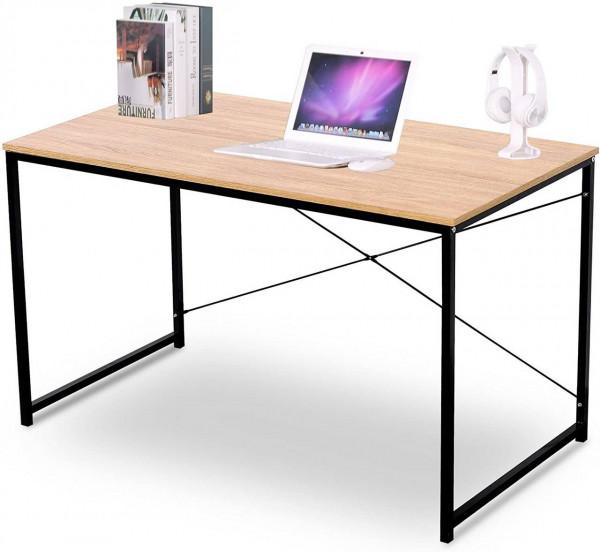 Schreibtisch aus Holz & Stahl in modernem Design, natur