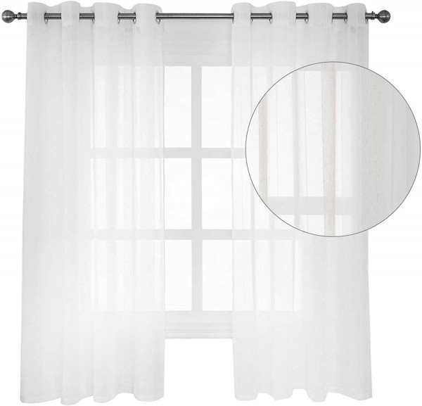 Sheer Voile Curtains Eyelet Ring Top Wood Grain Stripe Semi Transparent Curtain Panels - 2 Panels