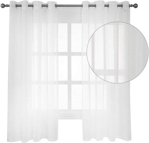 2er-Set Gardinen transparent mit Ösen für Wohnzimmer