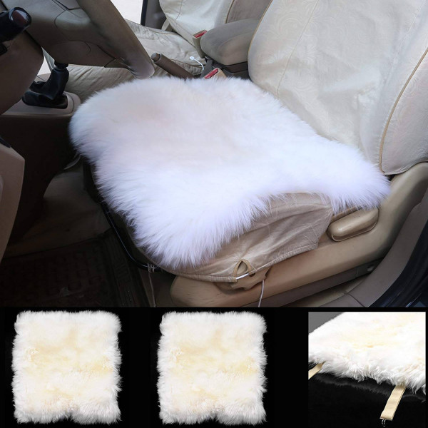 Set of 2 Lambskin Wool Fleece Car Seat Cushion 10, Cream