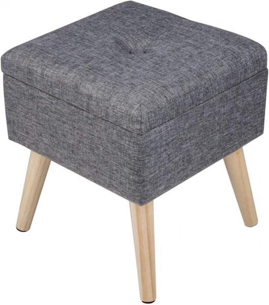 Sitzhocker aus Leinen mit Stauraum