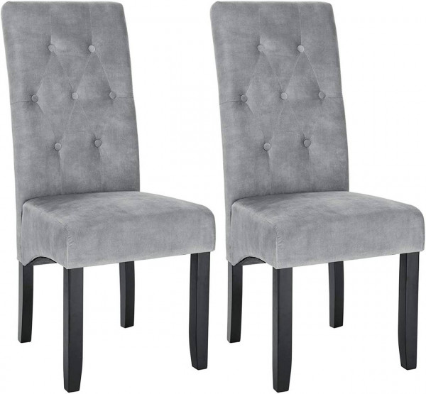 2er-Set Küchenstuhl aus Samt & Holzbeine Karina, hellgrau