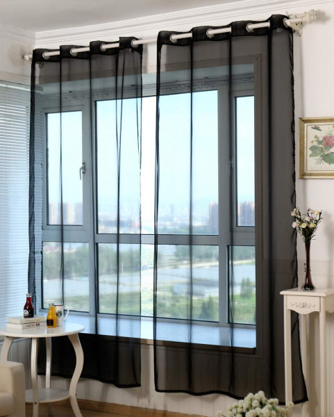 Voile curtain with eyelets, transparent