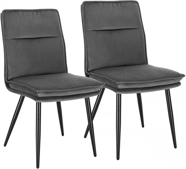 Set of 2 velvet and metal legs dining chairs - Undine model