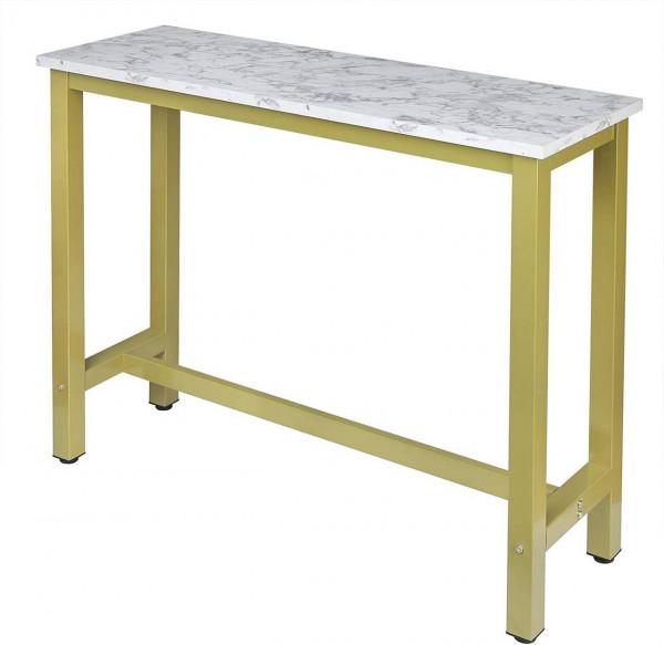 Bartisch Metallgestell Tischplatte aus MDF, weißer Marmor