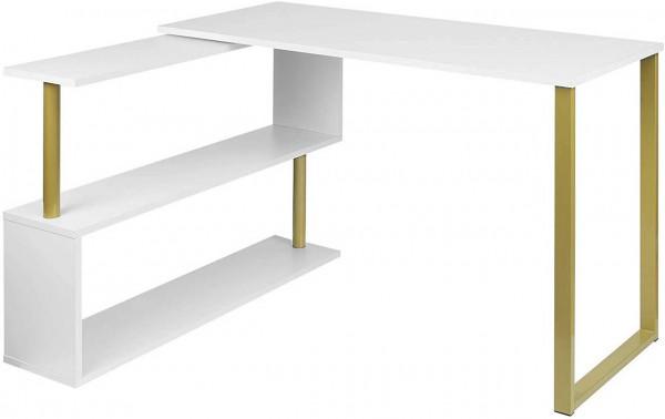 Schreibtisch Arbeitstisch mit Ablagen MDF, golden-weiß