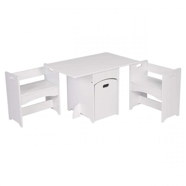 3-in- Kindersitzgruppe Kindertisch mit 2 Sitzbank für Kinder