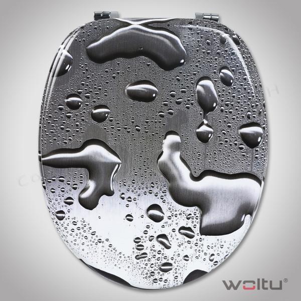 WC-Sitz MDF Tautropfen Grau ohne Absenkautomatik