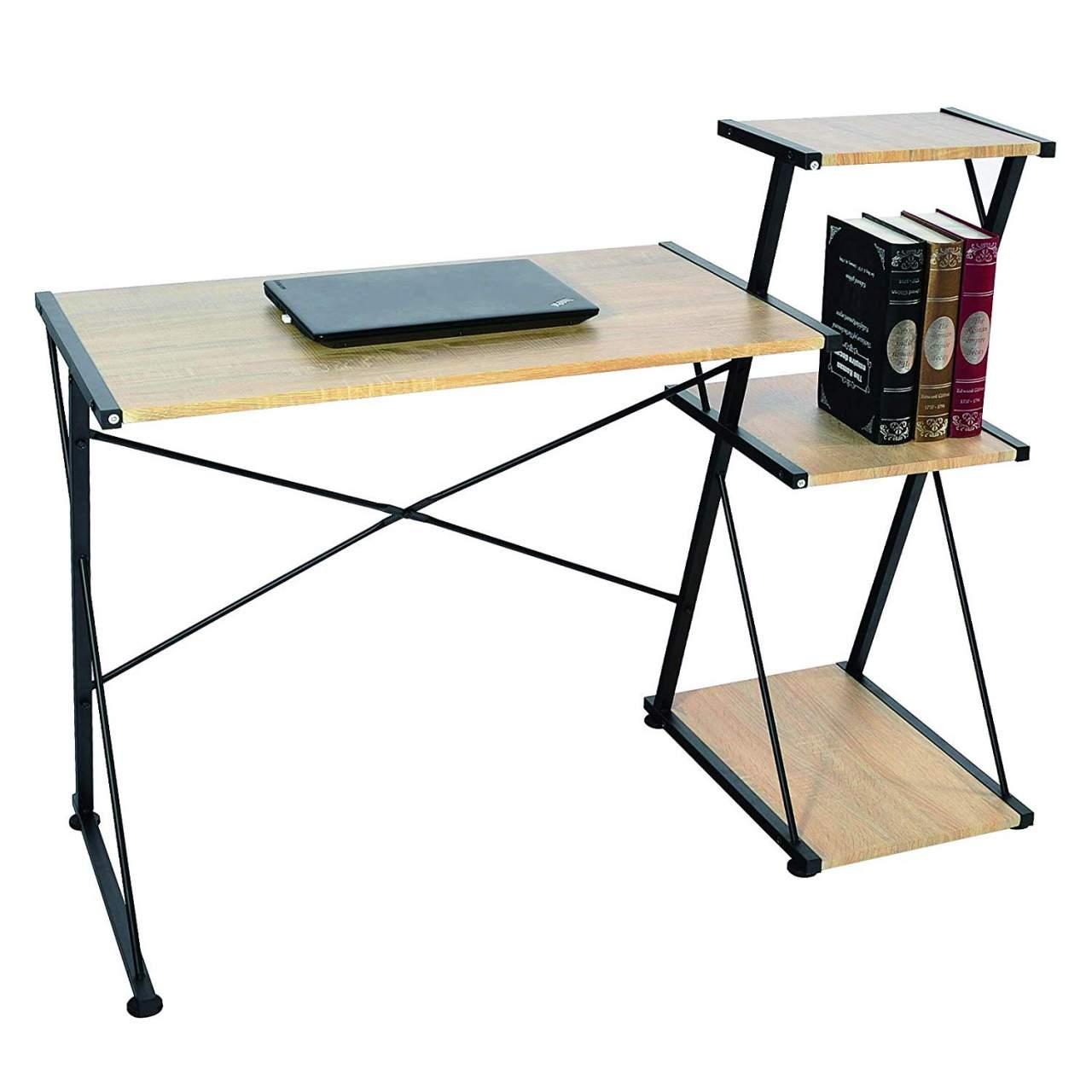 - Desk With 3 Shelves In Wood & Metal Light Oak Woltu.eu