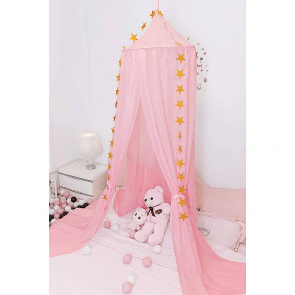 Baby canopy voile mosquito net with stars decoration