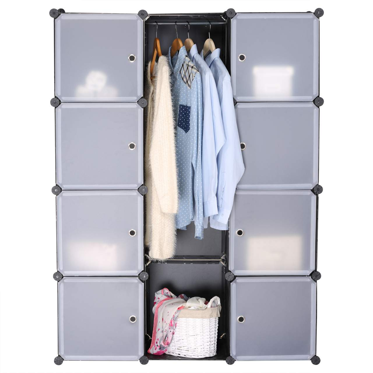 Shelf System Wardrobe With Doors Black Sr0012 Woltu Eu