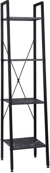 Standregal aus Metall & Holz mit 4 Ablagen, Modell Ani, schwarzer Marmor