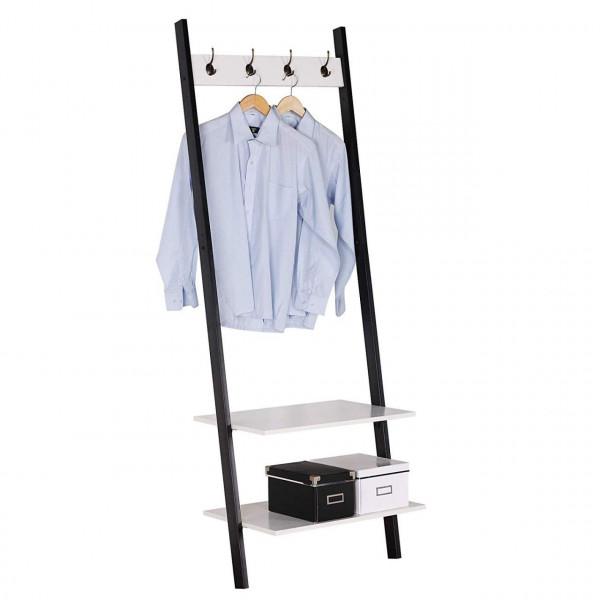 Garderobenständer mit Ablagen Schwarz + Weiß