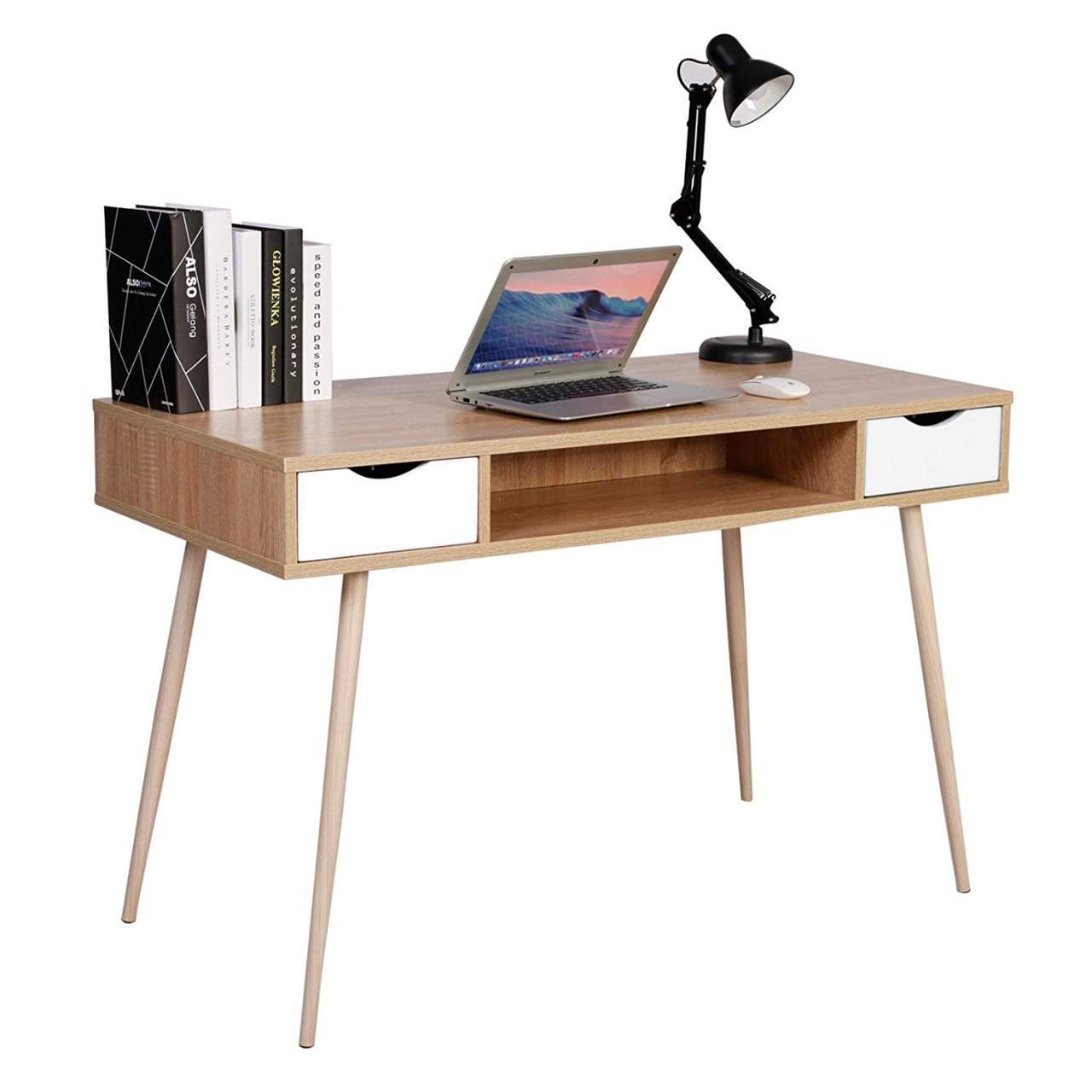 - Computer Table With Three Storage Options In Oak Woltu.eu