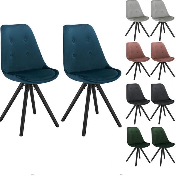 2er Set Esszimmerstühle aus Samt mit Holzgestell