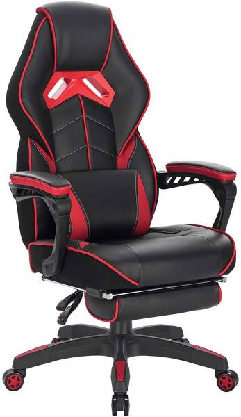 Gaming Stuhl aus Kunstleder mit Fußstütze Marco, rot