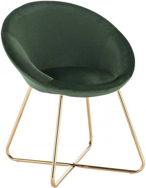 Küchenstuhl aus Samt & Metallbeine - Modell Hanna, dunkelgruen