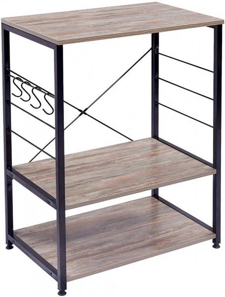 Standregal aus Holz & Metall mit 3 Ablagen für Küche, dunkelbuche