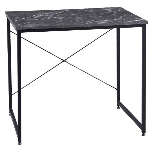 Bürotisch aus Holz mit Eisen-Gestell im Desktop Design,schwarz marmor