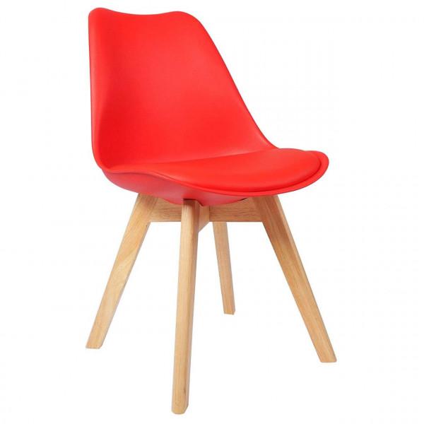 Esszimmerstühle 2er-Set Leinenbezug Holzbeine Lisa rot