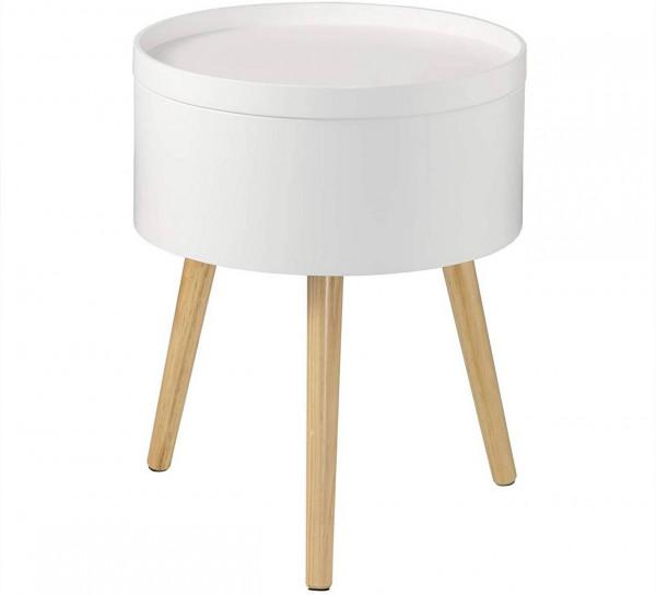 Nachttisch mit Stauraum aus MDF & Holzbeine, weiß