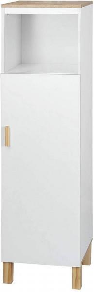 Badschrank Hochschrank mit Fach aus Holz 29x119x29cm weiß
