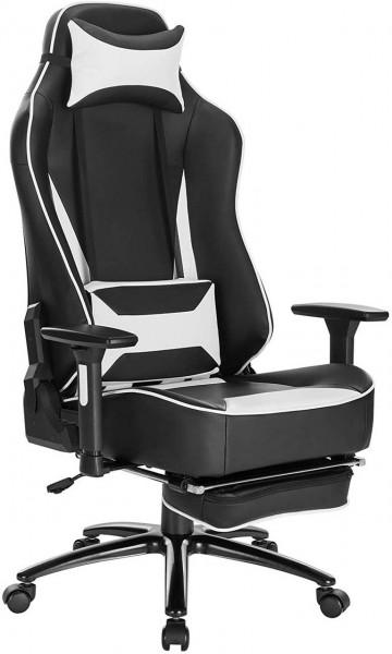 Gaming Stuhl mit Kopfkissen und Lendenkissen - Modell Frank, Weiß