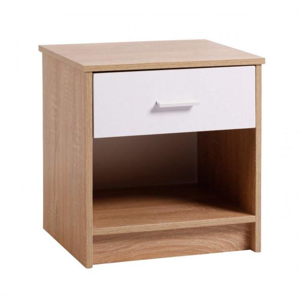 Nachtkommode mit offenem Fach & Schublade aus Holz