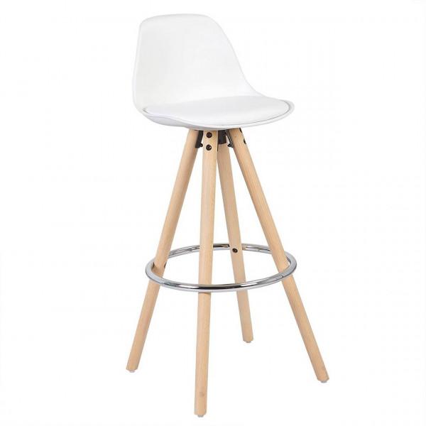 Barstuhl aus Kunststoff Holzgestell mit Lehne Joyce, weiß