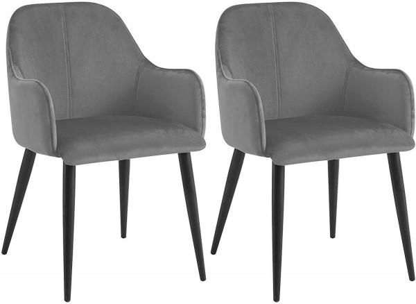 2er-Set Küchenstühle aus Samt & Metallbeine, Grau