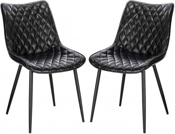 2er-Set Esszimmerstühle aus Kunstleder mit Metallbeine Modell Insa, schwarz