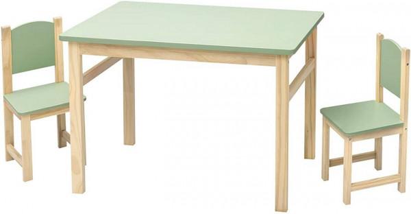 Kindertisch mit Stühle 3tlg. Kindersitzgruppe Sitzgruppe für Kinder aus Kiefernholz E1 MDF