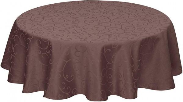 Tischdecke/Tafeldecke mit Saum, Ornamente im Seidenglanz Design, Dunkelbraun